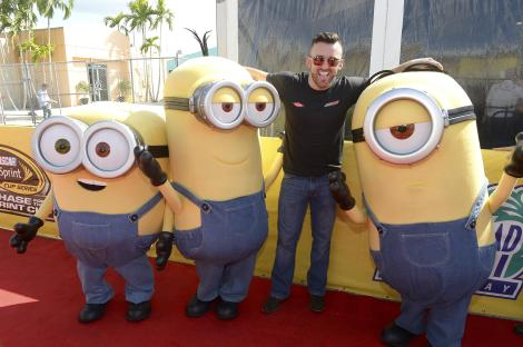 HOMESTEAD, FL - NOVEMBER 22: Austin Dillon with the Minions at NASCAR Ford Championship Weekend in celebration of the Minions on digital HD on November 24 and Blu-ray & DVD on December 8, on November 22, 2015 in Homestead, United States. (Photo by Gustavo Caballero/Getty Images For Universal Pictures Home Entertainment)