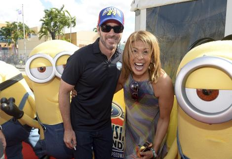 HOMESTEAD, FL - NOVEMBER 22: Jimmie Johnson and Hoda Kotb with the Minions at NASCAR Ford Championship Weekend in celebration of the Minions on digital HD on November 24 and Blu-ray & DVD on December 8, on November 22, 2015 in Homestead, United States. (Photo by Gustavo Caballero/Getty Images For Universal Pictures Home Entertainment)