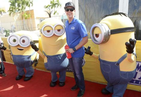 HOMESTEAD, FL - NOVEMBER 22: Trevor Bayne with the Minions at NASCAR Ford Championship Weekend in celebration of the Minions on digital HD on November 24 and Blu-ray & DVD on December 8, on November 22, 2015 in Homestead, United States. (Photo by Gustavo Caballero/Getty Images For Universal Pictures Home Entertainment)
