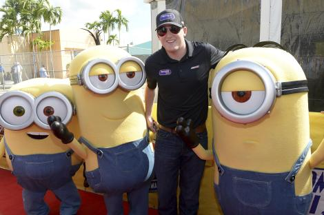 HOMESTEAD, FL - NOVEMBER 22: Ty Dillon with the Minions at NASCAR Ford Championship Weekend in celebration of the Minions on digital HD on November 24 and Blu-ray & DVD on December 8, on November 22, 2015 in Homestead, United States. (Photo by Gustavo Caballero/Getty Images For Universal Pictures Home Entertainment)