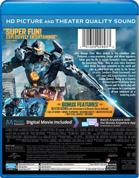 'Pacific Rim: Uprising'; Arrives On Digital June 5 & On 4K ... Pacific Rim Blu Ray Cover
